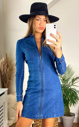Denim Mini Dress with Zip Front in Medium Blue by Noisy May