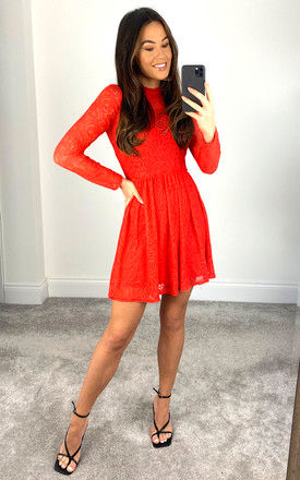 SARA LACE MINI DRESS IN RED by Bardot