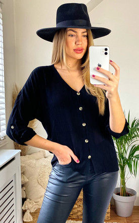 BUTTON FRONT VISCOSE BLOUSE IN BLACK by Pieces