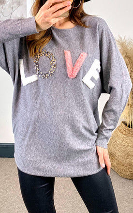 Grey 'LOVE' Oversized Jumper by APRICOT