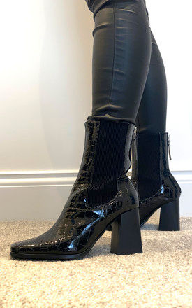Square Toe boots with block heel in black patent croc by Truffle Collection