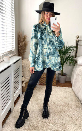 Tie Dye High Bow Neck Oversized Shirt in Green by Gini London