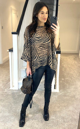 Stone Animal Print Silky Tunic by APRICOT