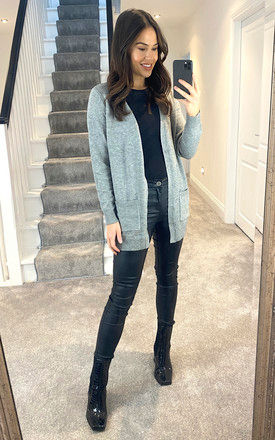 Knitted Cardigan With Pockets in Grey by ONLY