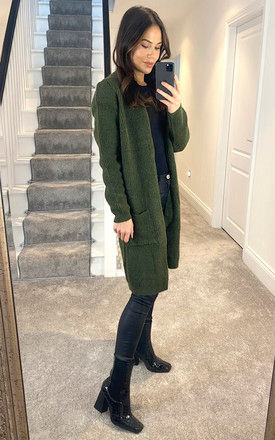 Longline Ribbed Cardigan With Pockets In Khaki by ONLY