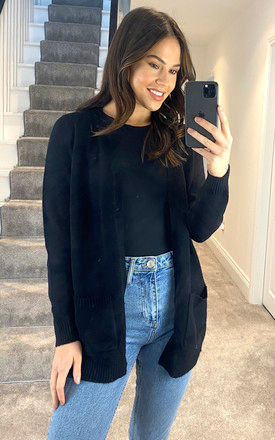 Knitted Cardigan With Pockets in Black by ONLY