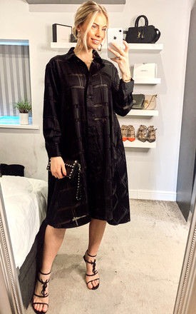 Check print oversized shirt dress with side pockets in black by CY Boutique