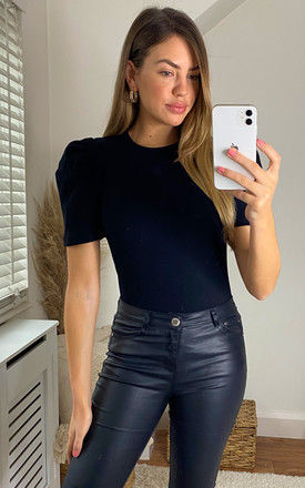 RIBBED TOP WITH SHORT PUFF SLEEVE IN BLACK by Pieces