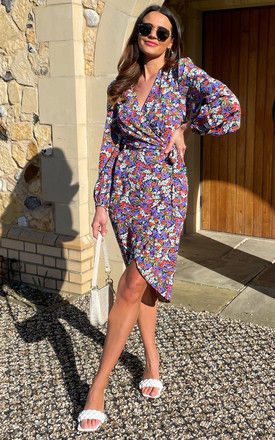 Shrimp Wrap Dress in Purple Floral Print by Traffic People