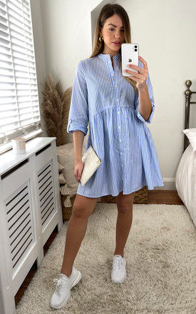 Smock Style Shirt Dress in Blue and White Stripe by ONLY