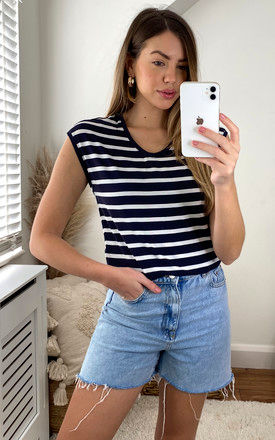 tee with round neck in Navy Stripe by ONLY
