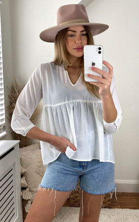 Smock Style Top with 3/4 Sleeve in White by ONLY