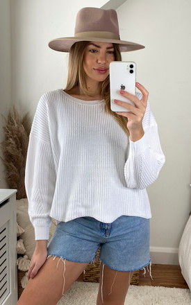 Ribbed Oversized Jumper in White by ONLY