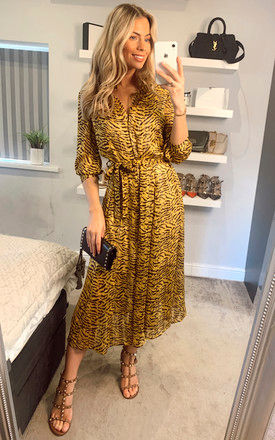 Mustard Tiger Printed Long Shirt Dress with Lined Body by LOVE SUNSHINE