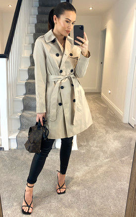 Beige Womens Cotton Belted Trench Coat by Anastasia Fashions