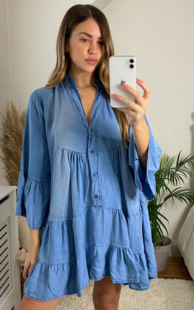 Tiered Denim Mini Dress in Light Blue by Bella and Blue