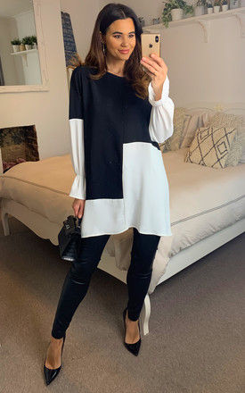 Oversized Colour Block Top in Black and White by HOXTON GAL