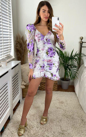 WILDFLOWER LACE MINI DRESS IN WHITE LAVENDER FLORAL by For Love And Lemons