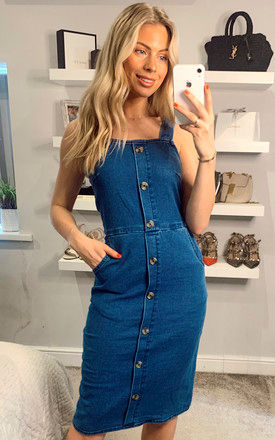 Dungaree Denim Dress In Blue by Yumi
