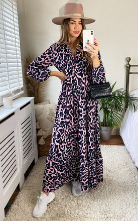 Pink Animal Print Tiered Maxi Dress by Gini London
