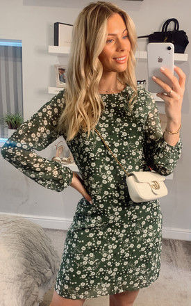 Ditsy Floral Long Sleeve Tunic Dress In Green by Yumi