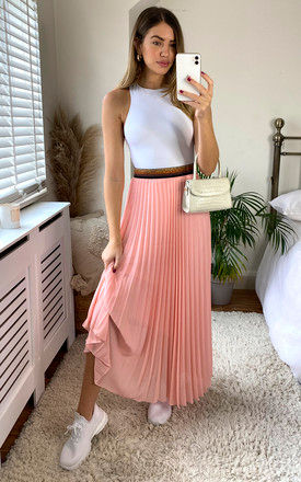 Pink Pleated Maxi Skirt with Elasticated Waistband by KURT MULLER