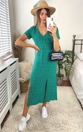 Winnie Animal V Neck Midi Dress In Green and Black by Style Cheat