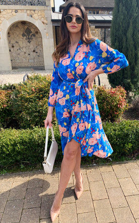 Abbey Floral Wrap Midi Dress in Blue by D.Anna