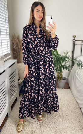 Black Long Sleeve Tiered Maxi Dress by Gini London