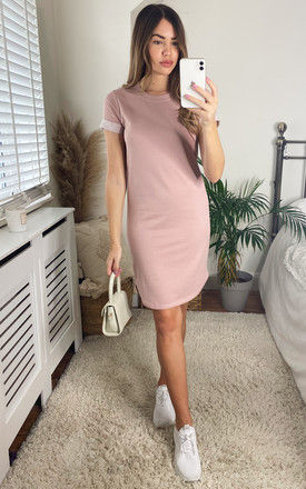 T shirt Style Mini Dress in pink by JDY