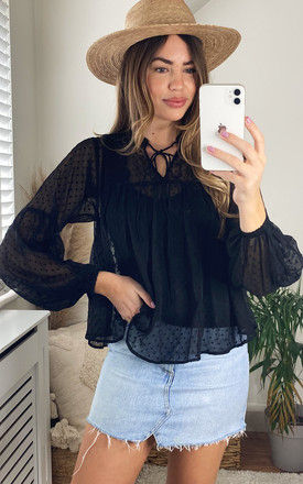 Dotted Mesh Top with tie neck in Black by VM