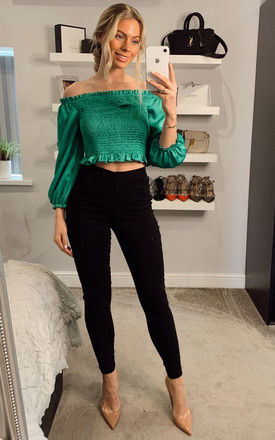 Pull On Smart High Waisted Skinny Trousers in Black by ANGELEYE