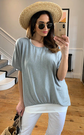 2 in 1 Top with Necklace in Grey by Bella and Blue