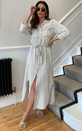 Midi Shirt Dress with Tie Waist in Beige by Bella and Blue
