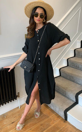 Midi Dress with Button Front in Black by Bella and Blue