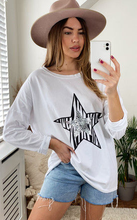 Long Sleeve Top with Double Animal Star in White by Bella and Blue