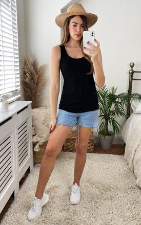 Ribbed Tank Top in Black by VM