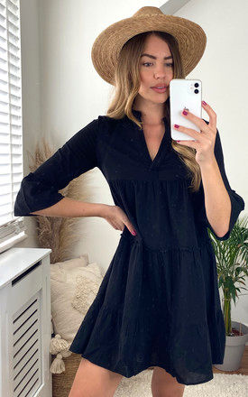 Mini Dress with 3/4 Sleeve in Black by VM
