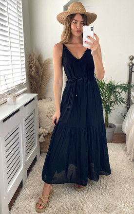 Strappy Maxi Dress with Tie Waist in Black by ONLY