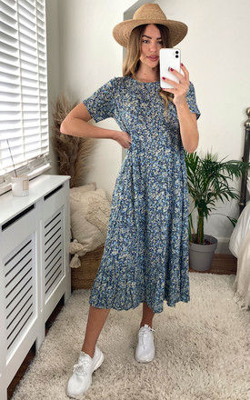 Relaxed Midi Dress in Blue Ditsy Floral by ONLY