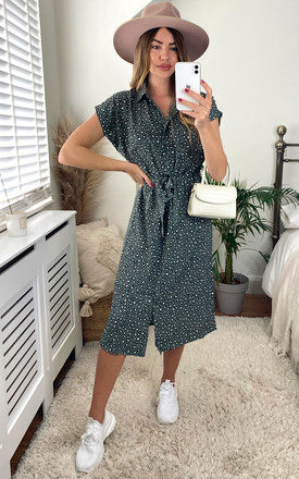 Midi Shirt Dress in Green Animal Print by ONLY