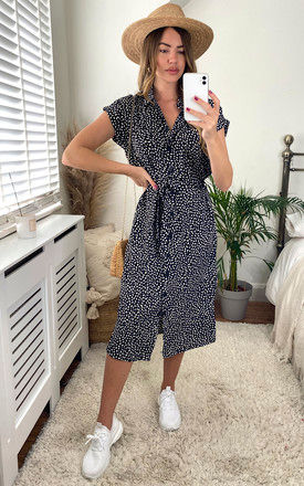 Midi Shirt Dress in Black Ditsy Print by ONLY