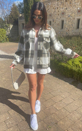 Checked Oversized Shacket in Khaki and White by Bella and Blue