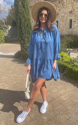 Denim Mini Dress with Tie Neck in Mid Blue by Bella and Blue