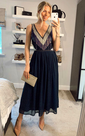 Striped Sequin Embellished Midi Dress in Navy by ANGELEYE