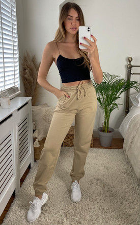 HIGH WAISTED JOGGERS IN BEIGE by VM