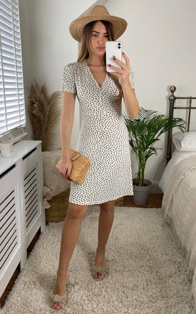 Spotted Dash Button Tea Dress In White by Yumi