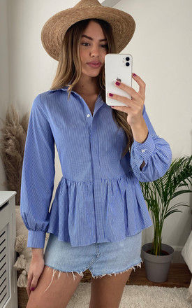 Long Sleeved Peplum Shirt in Blue Pinstripe by Bella and Blue