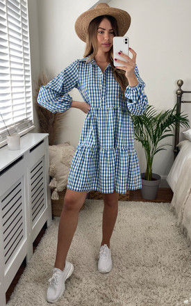 Long Sleeved Tiered Dress in Blue and White Gingham by Bella and Blue