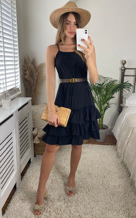Strappy Ruffle Hem Dress with Belt in Black by Bella and Blue